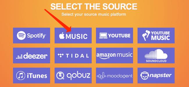 """Selecione """"Apple Music"""" como a fonte em Tune My Music, se desejar mover suas listas de reprodução do serviço."""