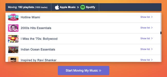"""No site Tune My Music, clique em """"Começar a mover minha música"""" para começar a enviar suas listas de reprodução do Apple Music para o Spotify."""