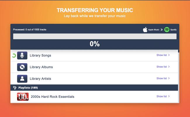 Tune My Music está movendo suas listas de reprodução do Apple Music para o Spotify.