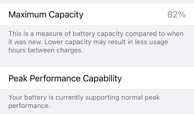 iPhone Battery Capacity in iOS Settings