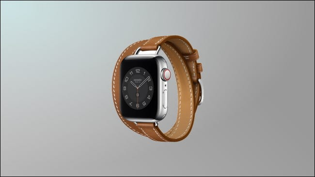 hermes leather band on light grey background