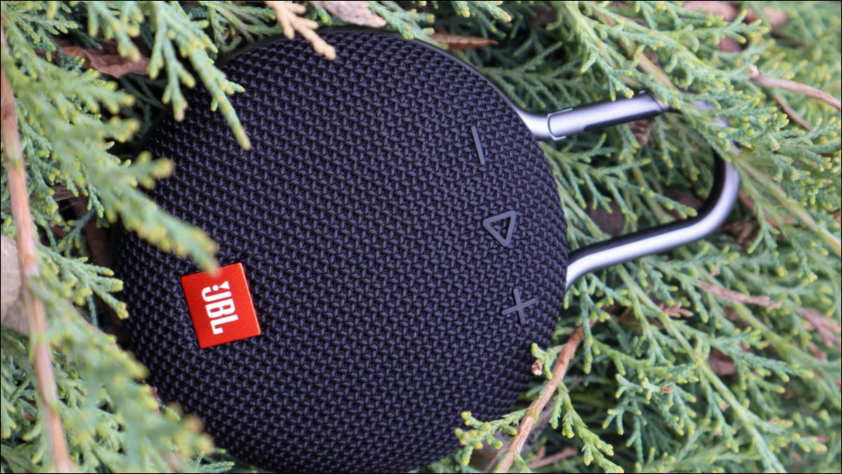 JBL Clip surrounded by evergreen leaves