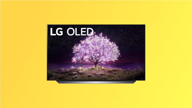 LG C1 on yellow background