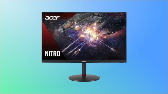 Acer Nitro monitor on blue and green background