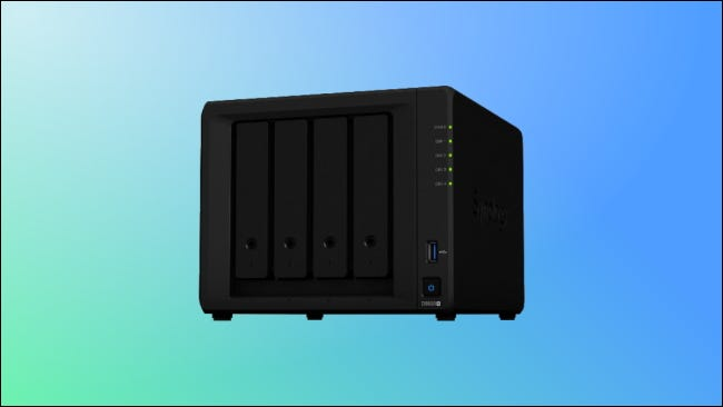 Synology DS920 on green and blue background