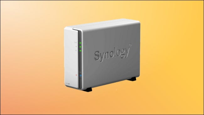 Synology DS120j on yellow background