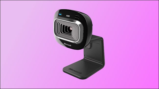 microsoft lifecam on pink background