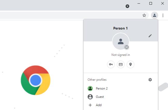 Chrome's profile switcher menu.