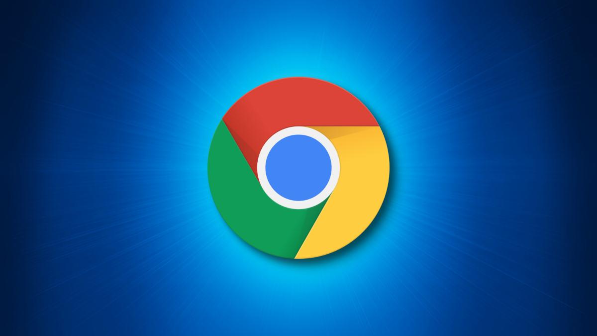 Logo di Google Chrome su sfondo blu