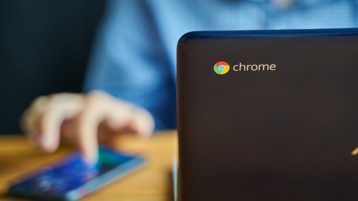 Chromebook close up on Chrome logo