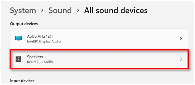 """Click the sound device in """"All Sound Devices"""" you'd like to change."""