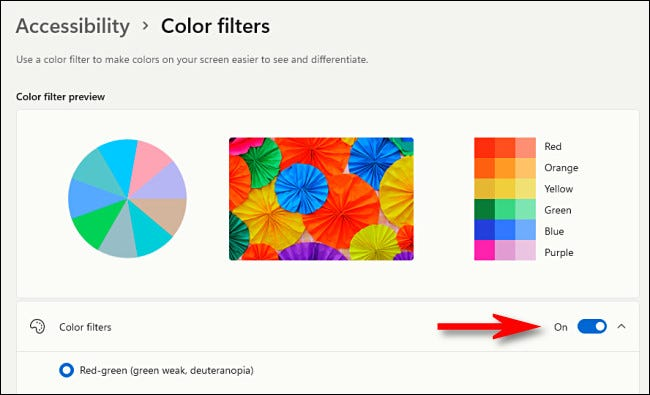 """Flip the switch beside """"Color Filters"""" to """"On."""""""