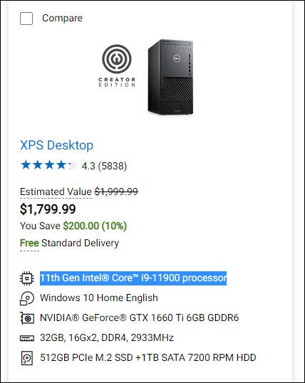 Dell XPS $1800 PC
