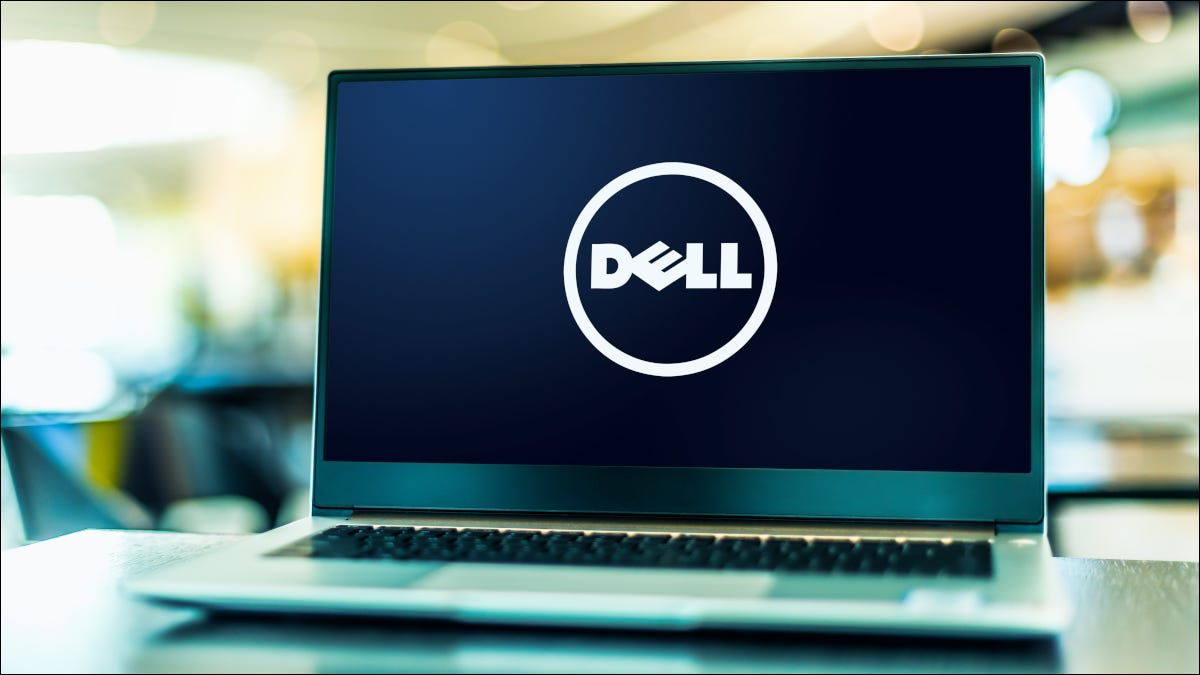Open laptop with Dell logo visible on screen