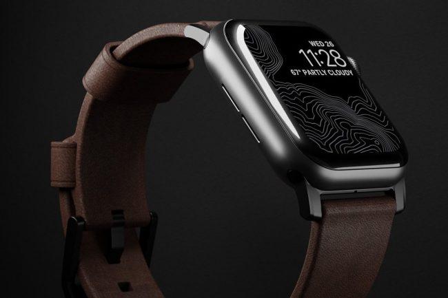 nomad leather band on black background