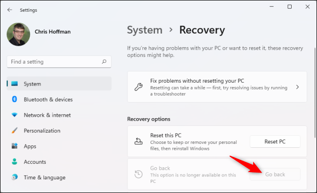 """Click """"Go Back"""" under Recovery Options to roll back to Windows 10."""