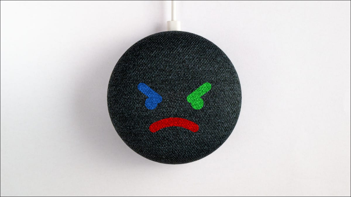 Google Nest speaker with mad face.