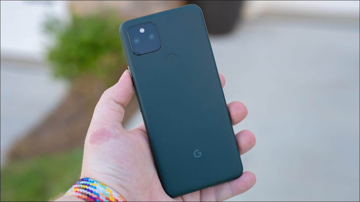 Google Pixel 5a back held in hand