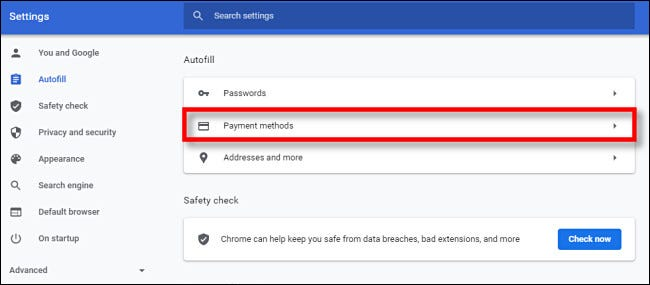 """In Google Chrome Settings, click """"Payment Methods."""""""