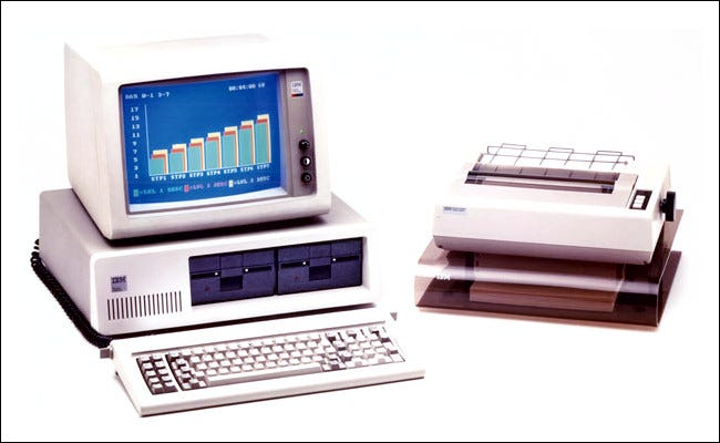 The IBM PC with a printer.