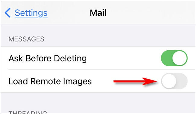 """Toggle off """"Load Remote Images"""" in iOS or iPadOS"""
