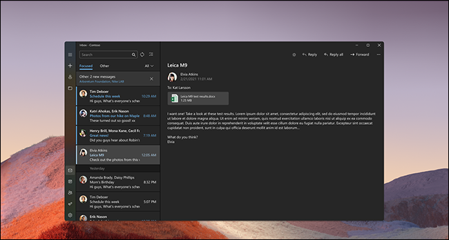 Windows 11 Mail dark mode