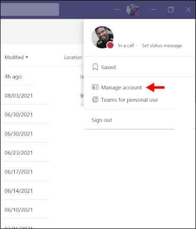 Click the manage account button