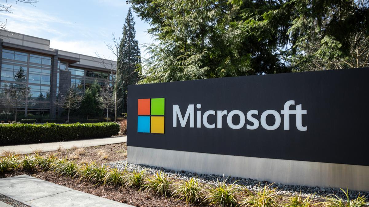 Microsoft logo on campus