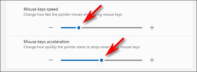 Use the mouse keys speed and accelleration sliders to make the mouse pointer move faster or slower.