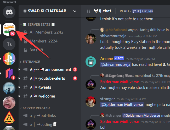 Select the server from the left-side colume in the Discord app.