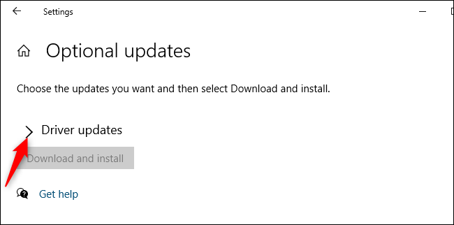 """Expand the """"Driver Updates"""" section."""
