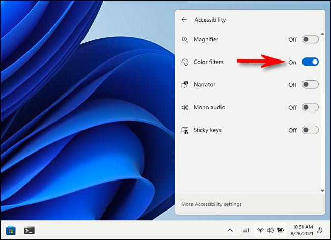 """In the """"Accessibility"""" Quick Settings menu, tap the switch to turn """"Color Filters"""" on."""