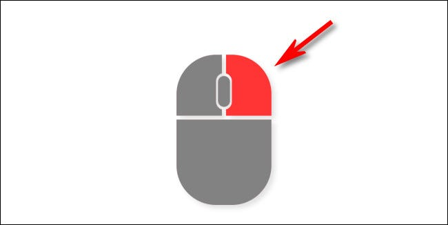 An illustration of the right button on a mouse.