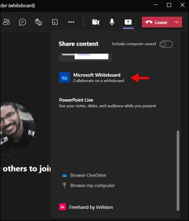 Click Microsoft Whiteboard in the share tray on microsoft teams
