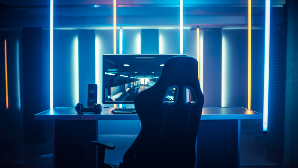 A gaming PC setup at a desk.