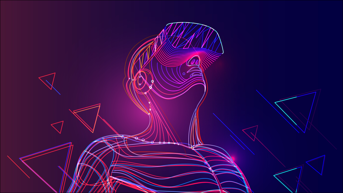 An abstract image of a digital person wearing a VR headset.