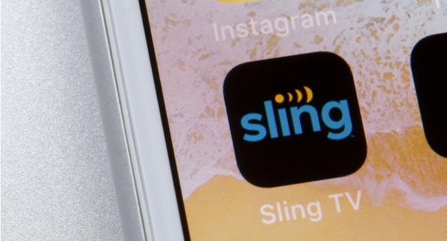 Sling TV app logo on an iPhone