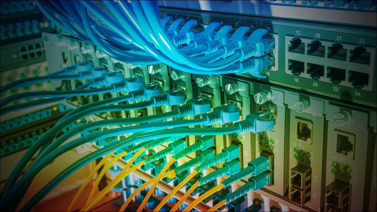 A rainbow of Ethernet cables