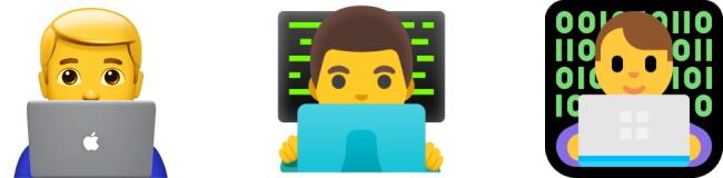 Male Technologist emoji by Apple, Google, and Microsoft.