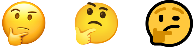 Thinking Face emoji by Apple, Google, and Microsoft.
