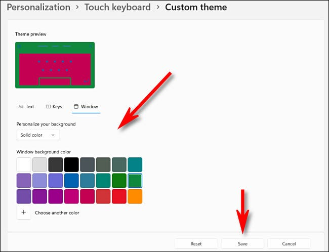 """Choose touch keyboard theme colors, then click """"Save."""""""
