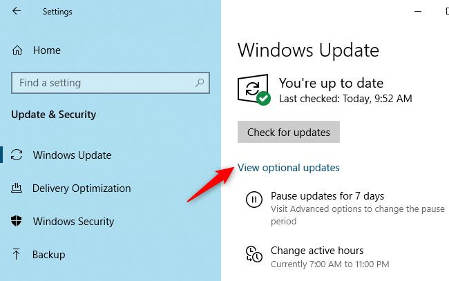"Click ""View Optional Updates."""