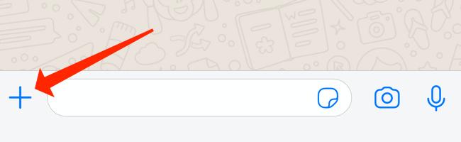 """Il pulsante """"+"""" in WhatsApp per iPhone."""