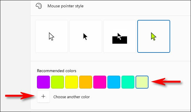 """Pick a color from the """"Recommended"""" list or click the plus button beside """"Choose Another Color."""""""