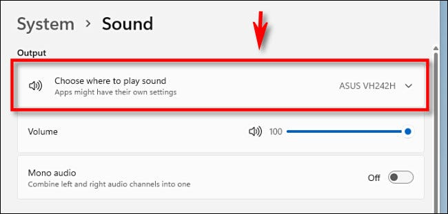 """Click """"Choose wehre to play a sound"""" to expand the menu if necessary."""