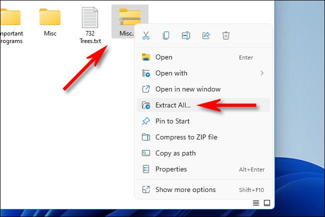 """Right-click the ZIP file and select """"Extract All."""""""