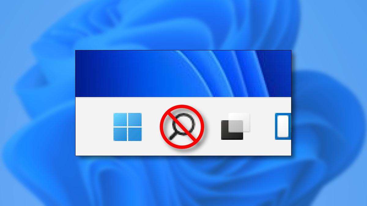 A crossed-out Seach button on the Windows 11 taskbar.
