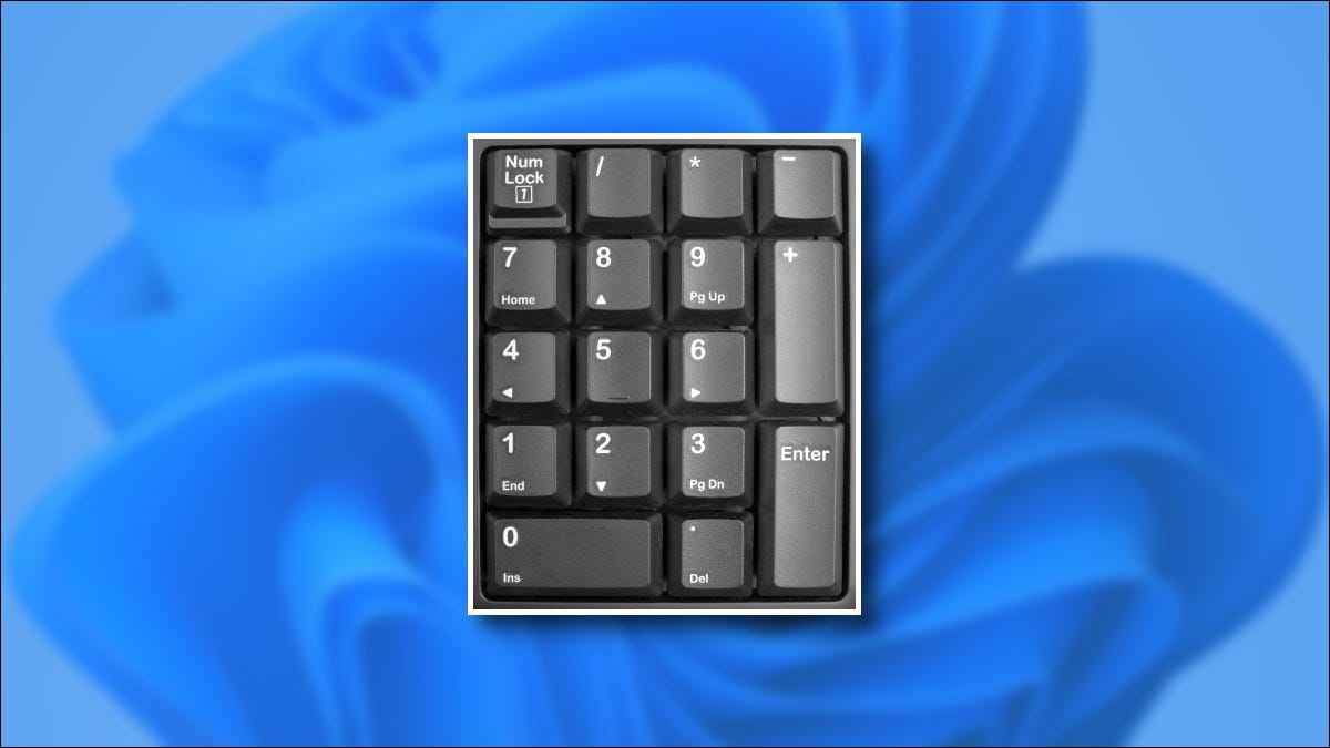 A numeric keypad over one of Microsoft's Windows 11 desktop backgrounds.