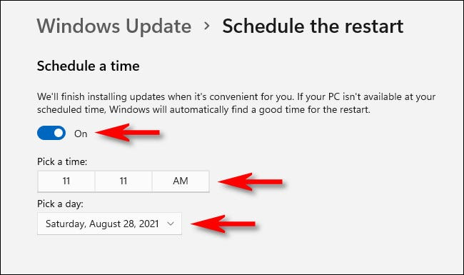 """In """"Schedule the Restart,"""" flip the switch """"On,"""" then use the menus to set the date and time for the restart."""