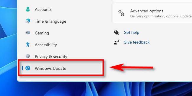 "In the Windows Settings sidebar, click ""Windows Update."""